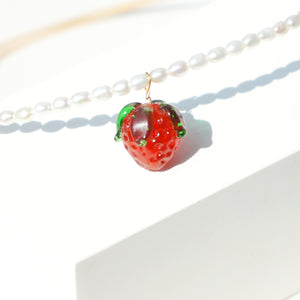 Strawberry & Freshwater Pearl Open Choker Necklace