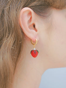Strawberry Huggie Hoop/Leaf Stud Earring,18k Gold Vermeil/Sterling Silver