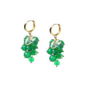 Very Grapeful Green Agate Grapes Earrings, w/18k Gold Vermeil Huggie Hoops