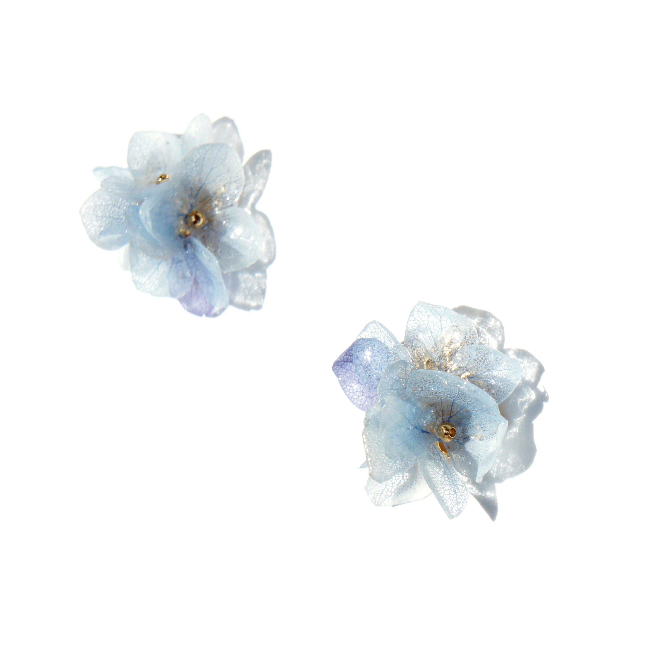 *REAL FLOWER* Invincibelle Layered Hydrangea Flower Stud Earrings