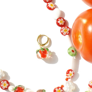 Tomato Salsa Huggie Hoop Earrings, 18K Gold Vermeil
