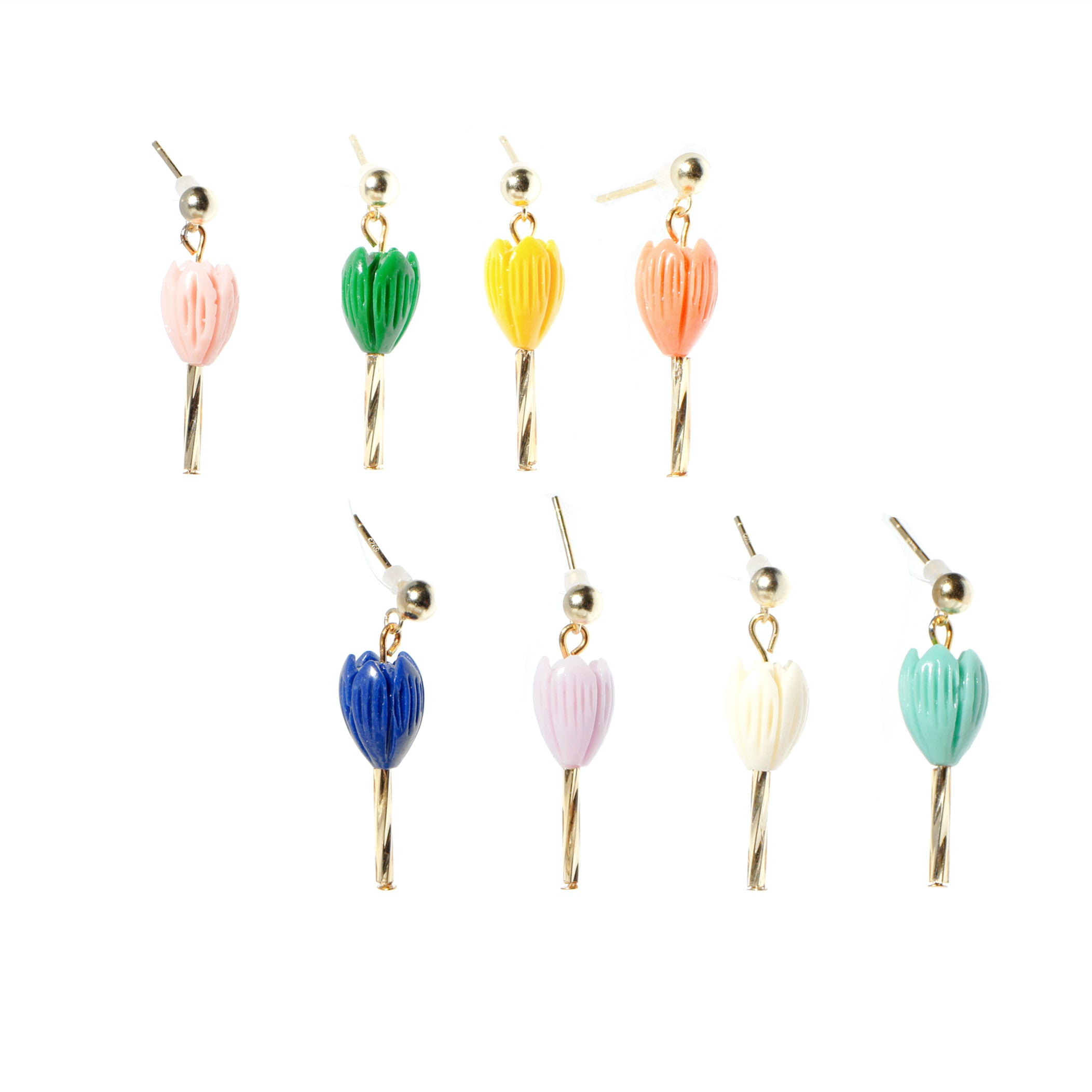 Tulip with Stem Single Earring w/18k Gold Vermeil Stud