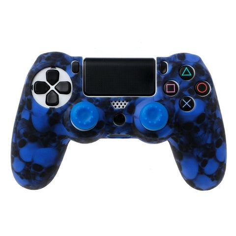 OCDAY Skull Silicone Gamepad Cover Case + 2 Joystick Caps For PS4 Controller