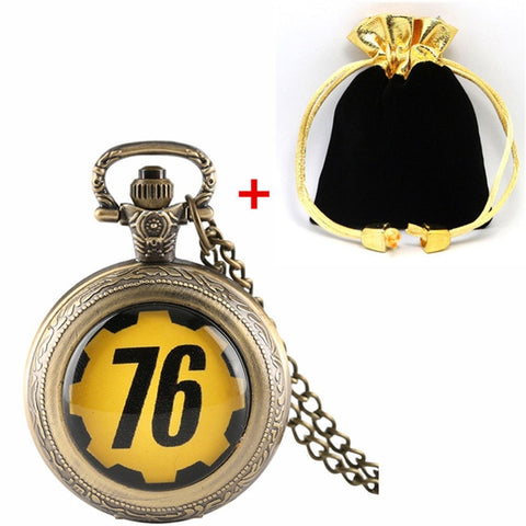 Fallout 76 Quartz Pocket Watch Necklace With Box