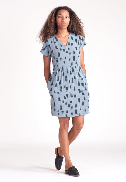 Drift V Neck Dress - Glacier
