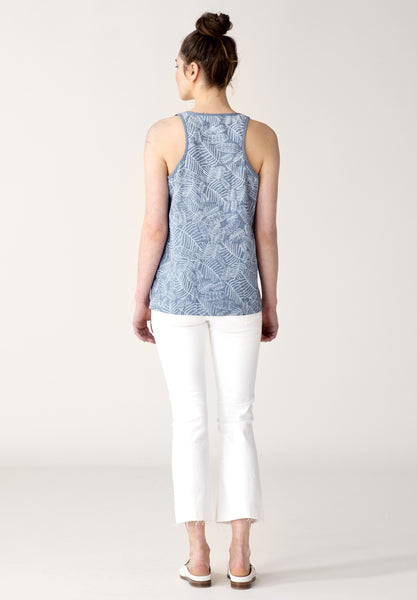 Tropical Leaves Tank - Chambray