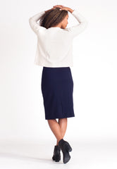 Ponte Pencil Skirt - Navy