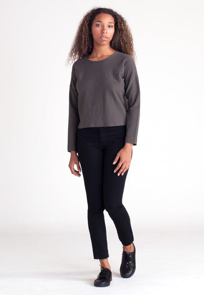 Canvas Cropped Sweatshirt - Smoke