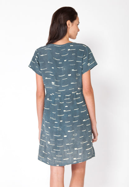 Sails Gathered Tee Dress - Marine