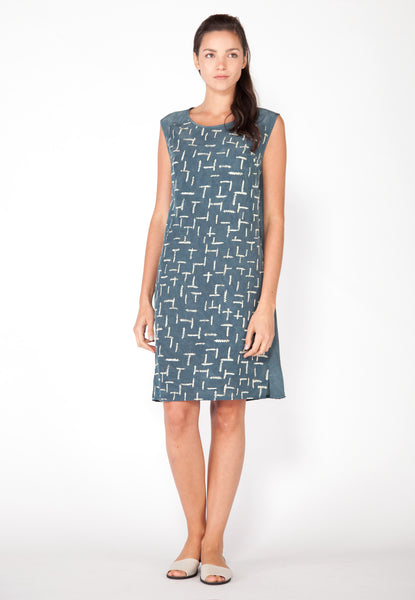 Summer Ferns Shift Dress - Marine