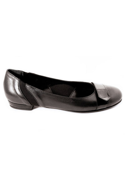 Casa Couture Carolyn Black Leather Flats NS