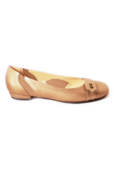 Casa Couture Carolyn Brushed Gold Leather Flats