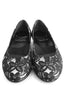 Casa Couture Sofia Black White Lace Flats