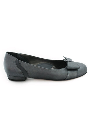 Casa Couture Anastasia Silver Leather Flats