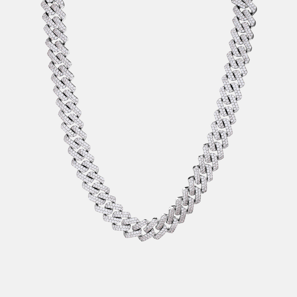DIAMOND PRONG LINK CHAIN 15MM (WHITE GOLD)