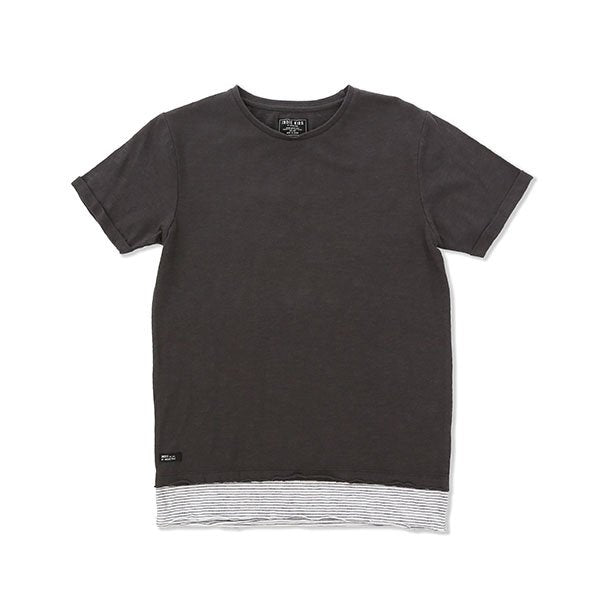 Indie Kids Striped Hem Tee Charcoal - Little Gents Store