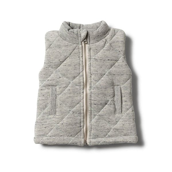 Wilson and Frenchy Grey Fleck Quilted Vest - Little Gents Store