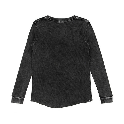 Alphabet Soup Waffle Henley Black back view