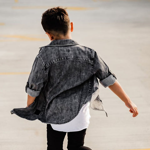 Beau Hudson Black Denim Shirt back view