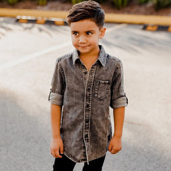 boy in Beau Hudson Black Denim Shirt