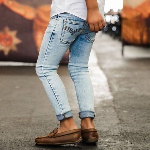 boy wearing Beau Hudson Denim Jeg Jeans