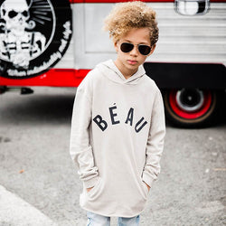 boy wearing Beau Hudson Tall Hoodie Bone