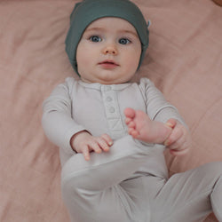 baby boy Burrow & Be Henley Merino Bodysuit (Pebble)