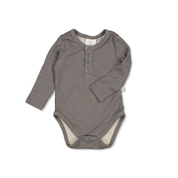 Burrow & Be Henley Merino Bodysuit (Steel)