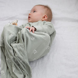 baby wearing Burrow & Be Sleep Gown (Sprig)
