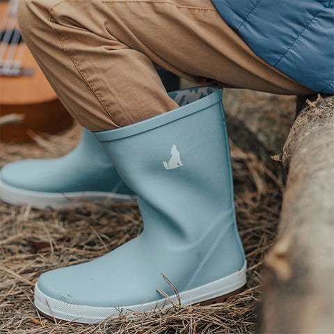 boy wearing Crywolf Rain Boots Misty Blue