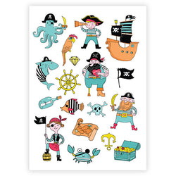 Ducky Street Pirates temporary tattoos