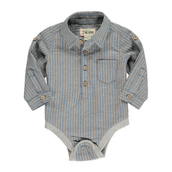 Me & Henry Blue Stripe Shirt Onesie