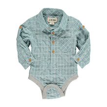 Me & Henry Green Grid Shirt Onesie