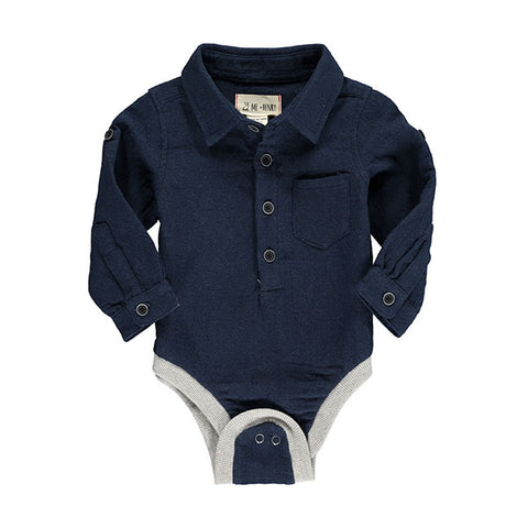 Me & Henry Navy Textured Shirt Onesie