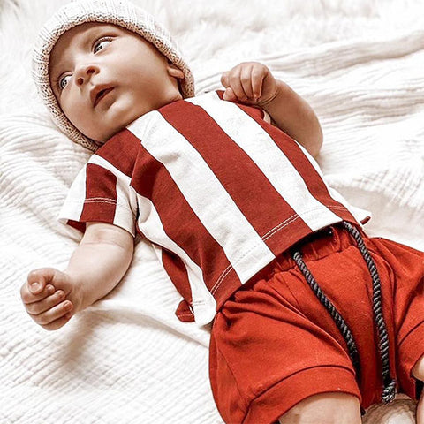 baby boy wearing Milk Addict Raw Edge Stripe Tee - Rust