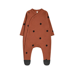 Organic Zoo Earth Dots Suit w/ Contrast Feet