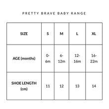 Pretty Brave Cross-Over Sandal size chart