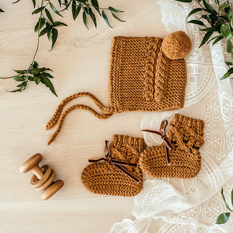 Snuggle Hunny Kids Bronze Merino Wool Bonnet & Booties Set