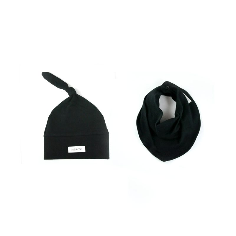 Susukoshi Black Bib & Hat set - Little Gents Store