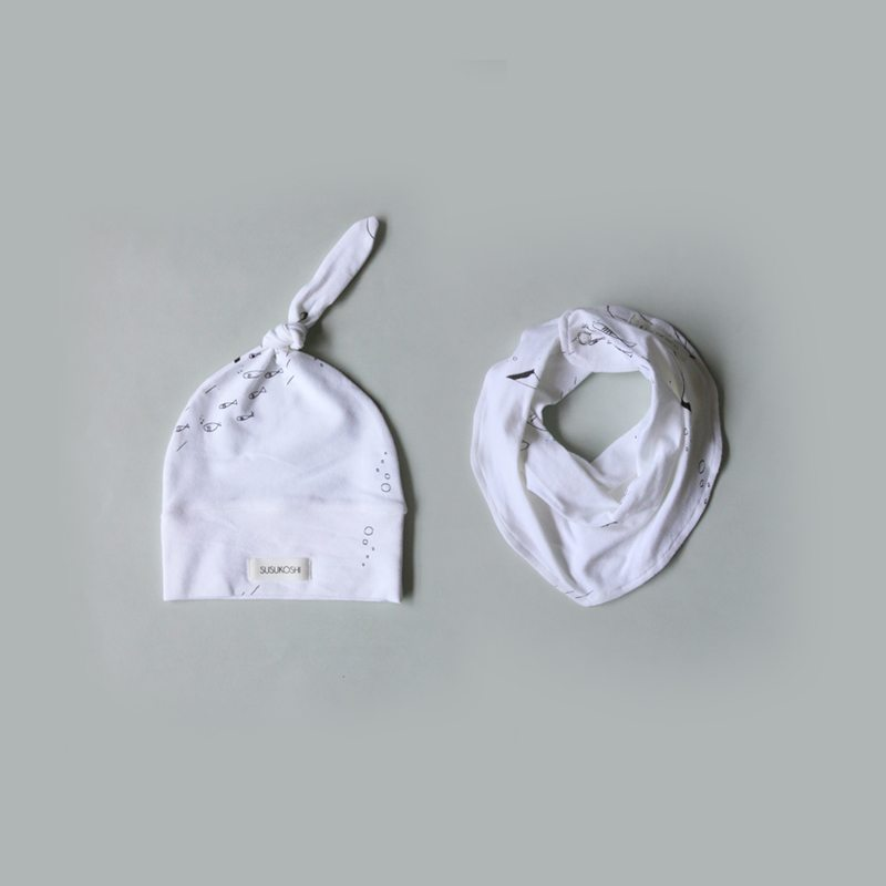 Susukoshi White Fish Bib & Hat set - Little Gents Store