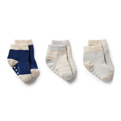Wilson and Frenchy Baby Socks 3 Pack - Navy Peony/Oatmeal/Grey