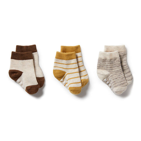 Wilson and Frenchy Baby Socks 3 Pack - Oatmeal/Antelope/Sepia