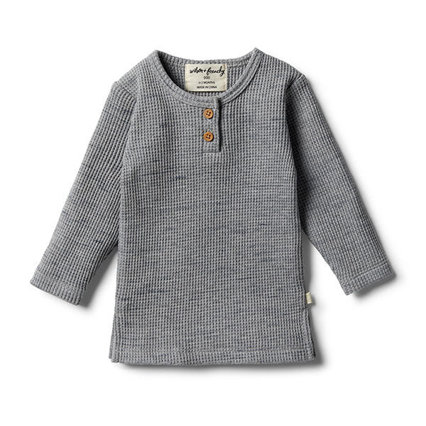 Wilson & Frenchy Cloud Grey Waffle Henley Top
