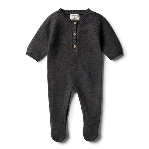 Wilson & Frenchy Storm Grey Footed Knitted Growsuit