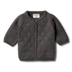 Wilson & Frenchy Storm Grey Knitted Zip Cardigan