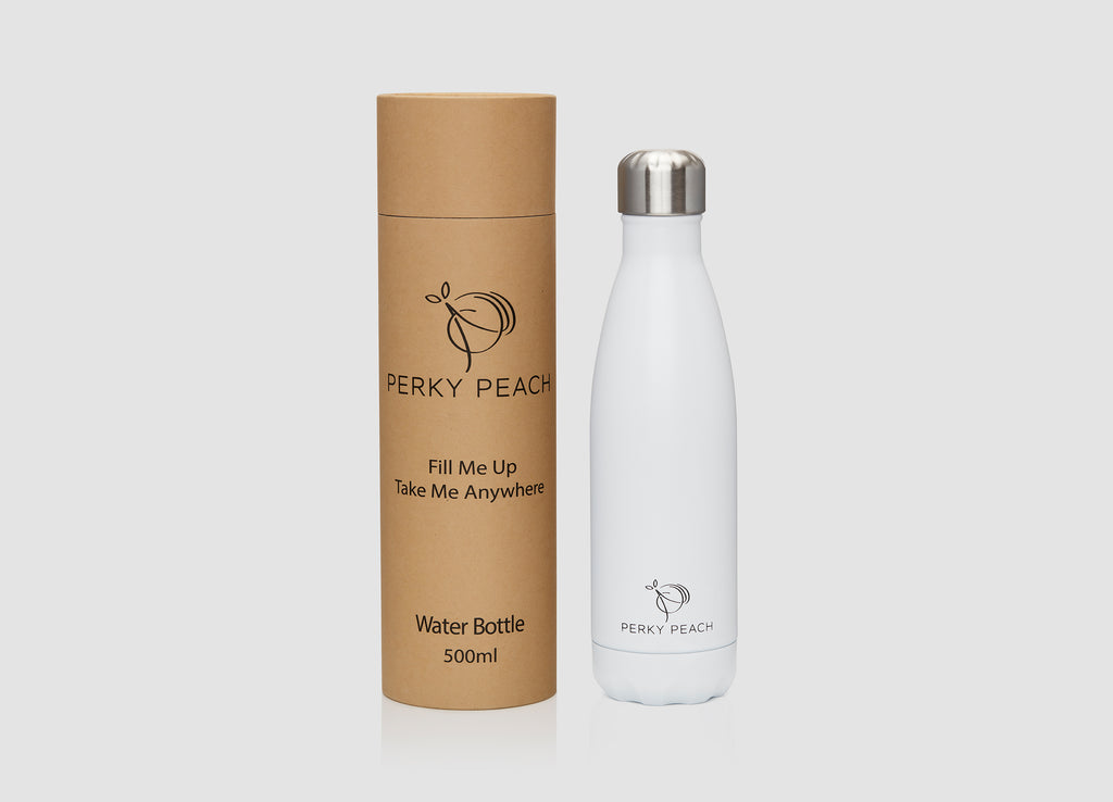 Matte White Water Bottle- 500ml - PerkyPeach