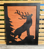Wooden stag wall decor