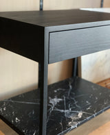 Davis Nightstand Ebonized with Marble