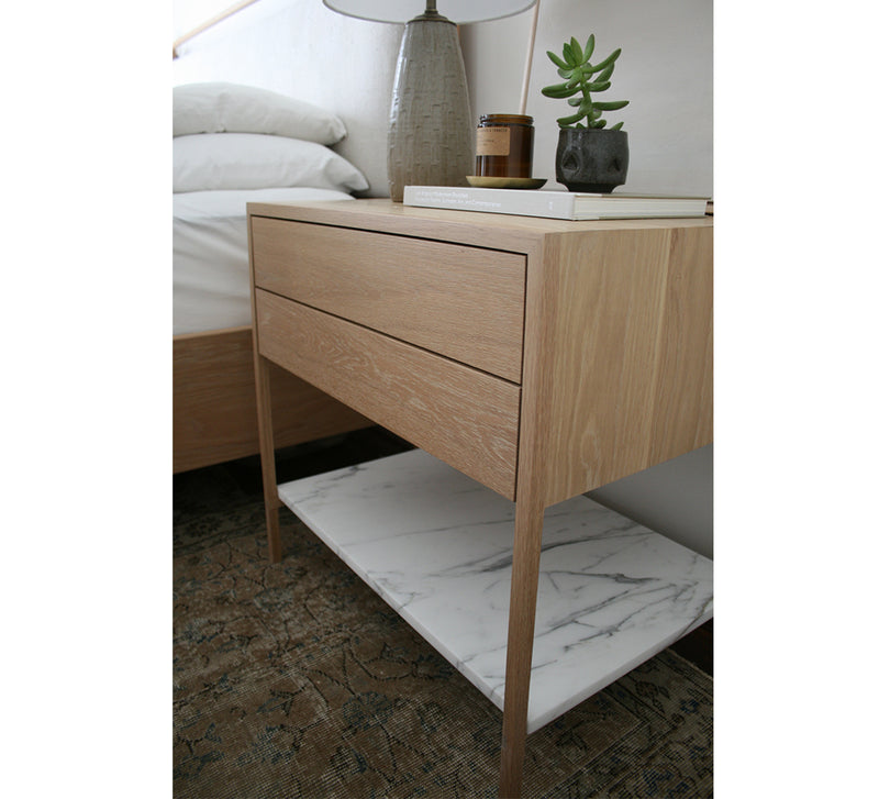 Davis Nightstand – 2-Drawer with Marble