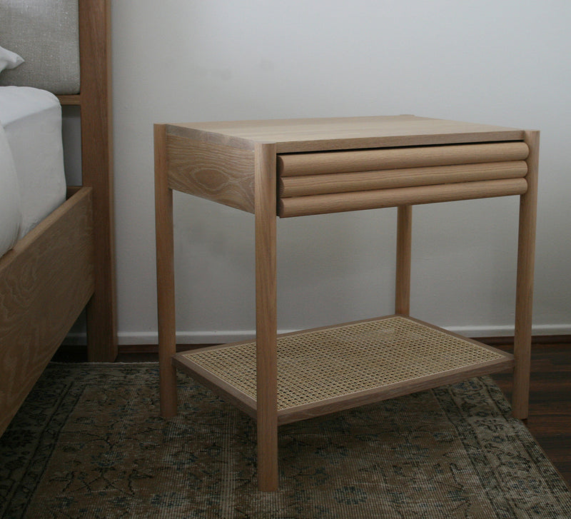 Parker Nightstand- White Oak and Cane